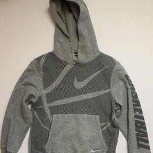 Nike Boys Gray Swoosh Hoodie Basketball Sweatshirt
